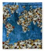 Coins World Map Fleece Blanket