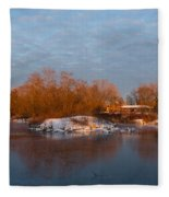 Cold Ice Warm Light - Early Winter Morning On The Lake Shore Fleece Blanket