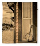 Cold Point Village Station - Banjo Mandolin In Sepia Fleece Blanket
