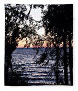 Cold Winter Sunset Fleece Blanket