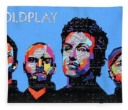 Coldplay Band Portrait Recycled License Plates Art On Blue Wood Fleece Blanket