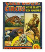 Cole Bros Circus With Clyde Beatty And Ken Maynard Vintage Cover Magazine And Daily Review Fleece Blanket