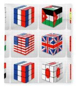 Collage Of Flags Of Different Nation  Fleece Blanket