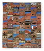 Collage Roof And Windows - The City S Eyes Fleece Blanket