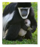 Colobus Monkey With Baby Fleece Blanket