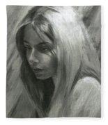 Portrait Of Woman In Charcoal Fleece Blanket