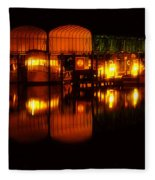 Colonial Beach Docks After Dark Fleece Blanket