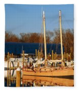 Colonial Beach Docks Fleece Blanket