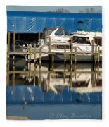 Colonial Beach Marina Fleece Blanket