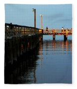 Colonial Beach Town Pier Fleece Blanket