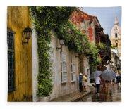 Colonial Buildings In Old Cartagena Colombia Fleece Blanket