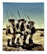 Colonial Soldiers Standing At Attention Fleece Blanket