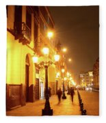 Colonial Street In Central Lima At Night Fleece Blanket