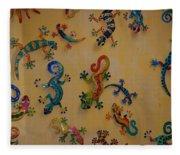 Color Lizards On The Wall Fleece Blanket