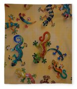 Color Lizards On The Wall Fleece Blanket