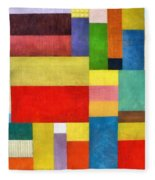 Color Panel Abstract With White Buttons Fleece Blanket