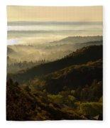 Colorado And Manitou Springs Valley In Fog Fleece Blanket