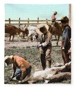 Colorado: Branding Calves Fleece Blanket