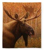 Colorado Moose Fleece Blanket by James W Johnson