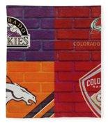Colorado Sports Teams On Brick Fleece Blanket