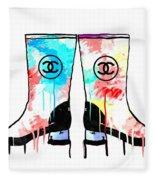 Colored Chanel Boots Fleece Blanket