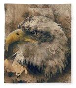 Colored Etching Of American Bald Eagle Fleece Blanket
