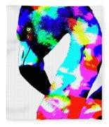 Colored Flamingo Fleece Blanket