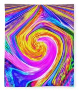 Colored Lines And Curls Fleece Blanket