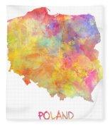 Colored Map Of Poland Fleece Blanket