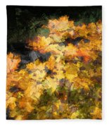 Colored Maple Leaves Fleece Blanket