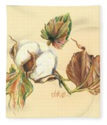 Colored Pencil Cotton Plant Fleece Blanket