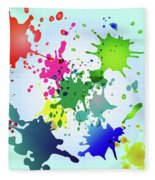 Colored Splashes On A Very Beautiful Blue Background Fleece Blanket