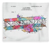 Colorful 1906 Wright Brothers Flying Machine Patent Fleece Blanket