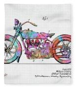 Colorful 1928 Harley Motorcycle Patent Artwork Fleece Blanket