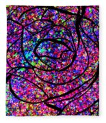Colorful Abstract Rose  Fleece Blanket