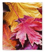 Colorful Autumn Leaves Closeup Fleece Blanket