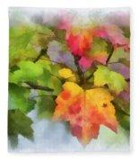 Colorful Autumn Leaves - Digital Watercolor Fleece Blanket
