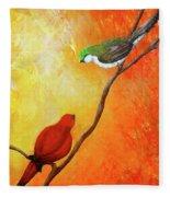 Colorful Bird Art Fleece Blanket