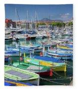 Colorful Boats Docked In Nice Marina, France Fleece Blanket