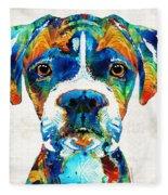 Colorful Boxer Dog Art By Sharon Cummings  Fleece Blanket