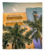 Colorful Building And Palm Trees Fleece Blanket