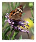 Colorful Butterfly On Daisy Fleece Blanket