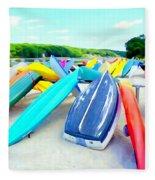 Colorful Canoes Fleece Blanket