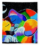 Colorful Cat In The Moonlight Fleece Blanket