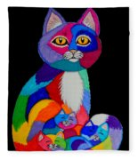 Colorful Cats And Kittens Fleece Blanket