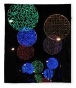 Colorful Christmas Lights Decoration Display In Madrid, Spain. Fleece Blanket