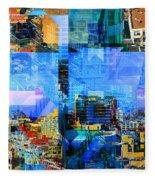 Colorful City Collage Fleece Blanket