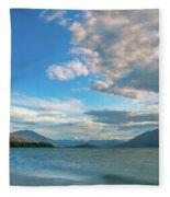 Colorful Clouds At Golden Hour On Lake Wakatipu At Glenorchy, Nz  Fleece Blanket