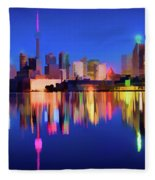 Colorful Cn Tower  Fleece Blanket