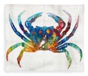 Colorful Crab Art By Sharon Cummings Fleece Blanket